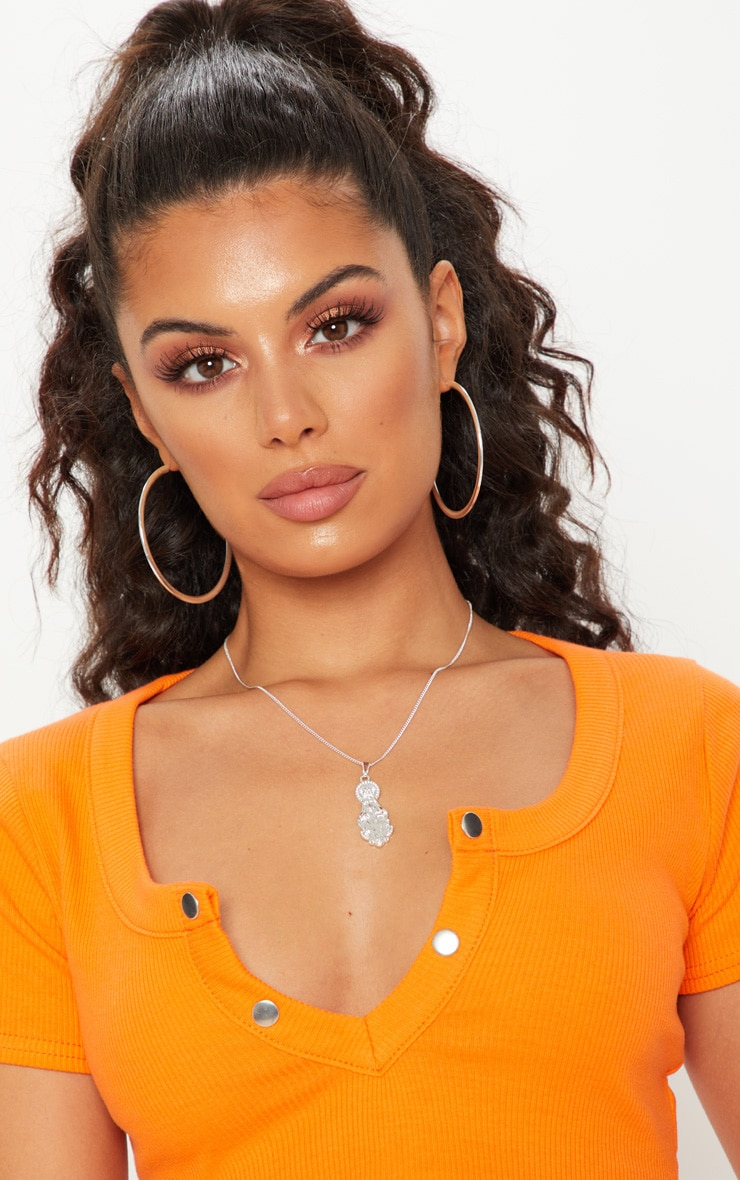 Tangerine Popper Plunge Crop Top 5