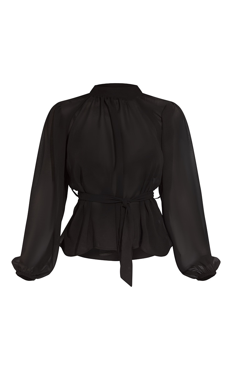 Black Sheer Chiffon Tie Waist Blouse 5