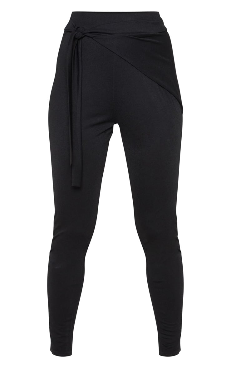 Black Wrap Front Skinny Trouser  3