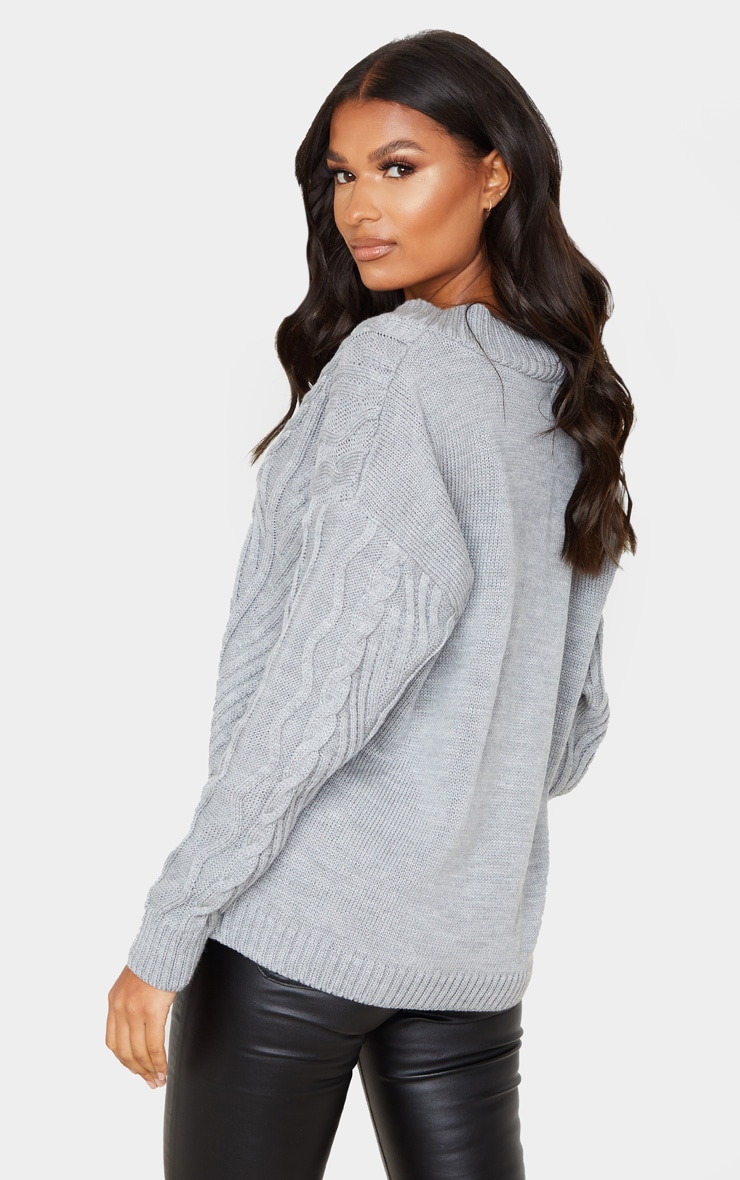 Grey Deep V Oversized Cable Knit Sweater 2