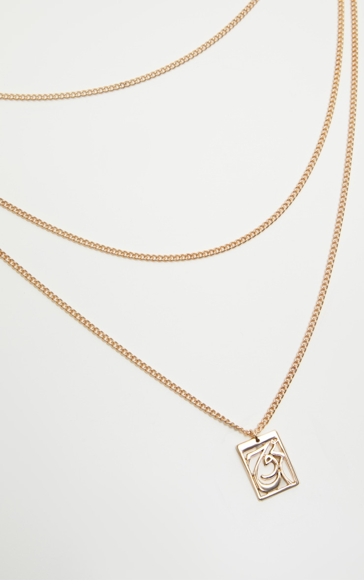 Gold Script Soul Layered Necklace 3