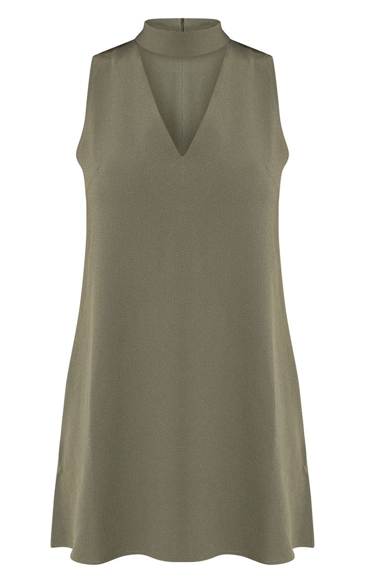 Cinder Khaki Choker Detail Loose Fit Dress 3