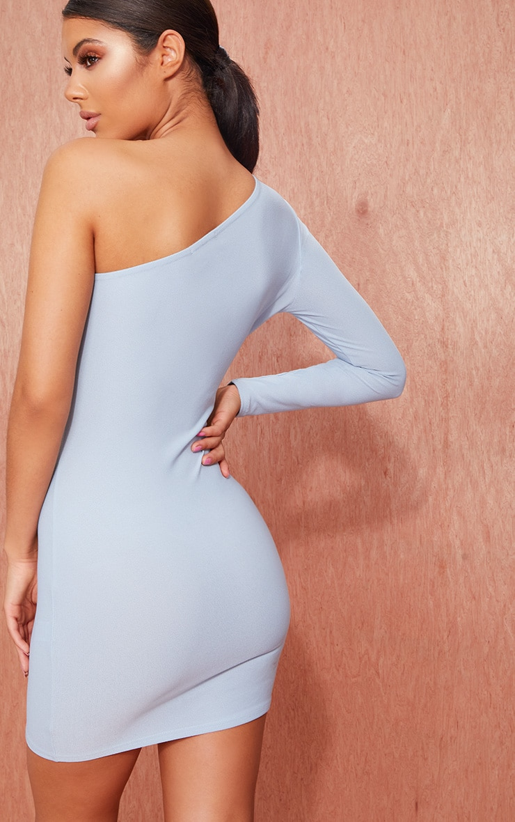 Dusty Blue Crepe One Sleeve Bodycon Dress 2