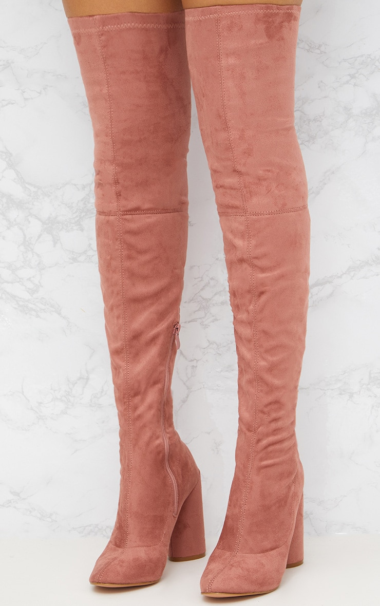 Blush Faux Suede Thigh High Round Heeled Boots  2