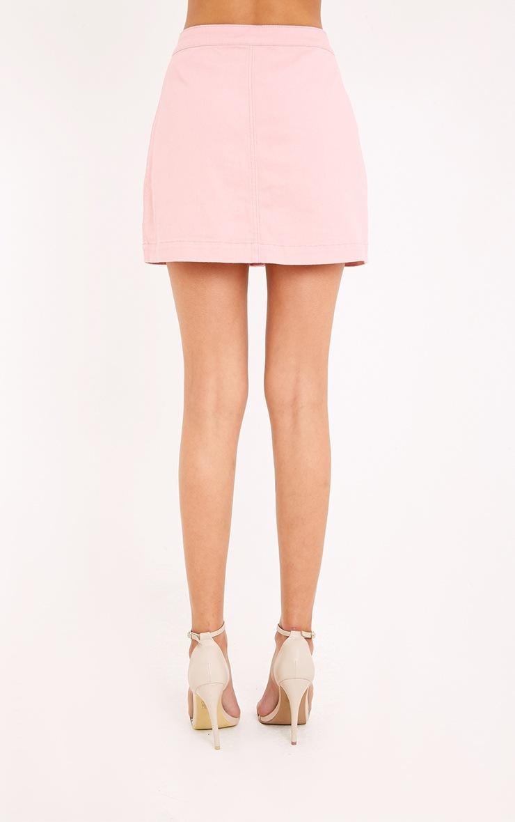 Pink Cammie Denim Mini Skirt 4