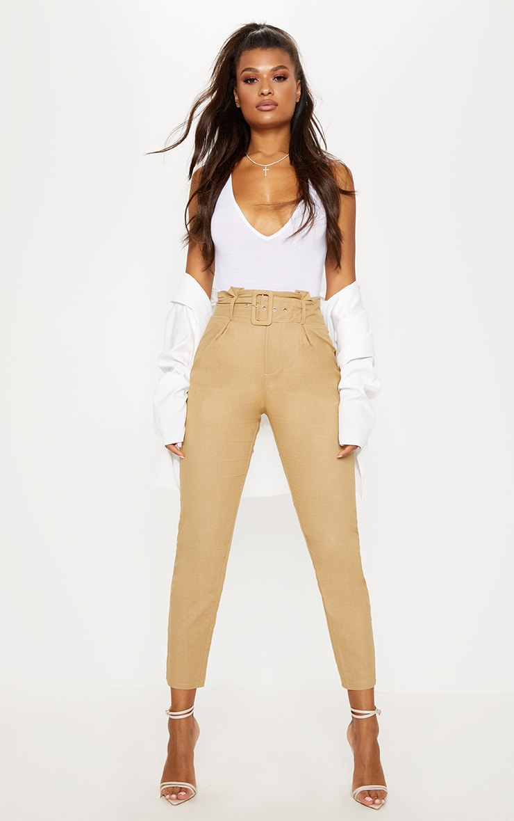 Stone Belted Paperbag Tapered Pants