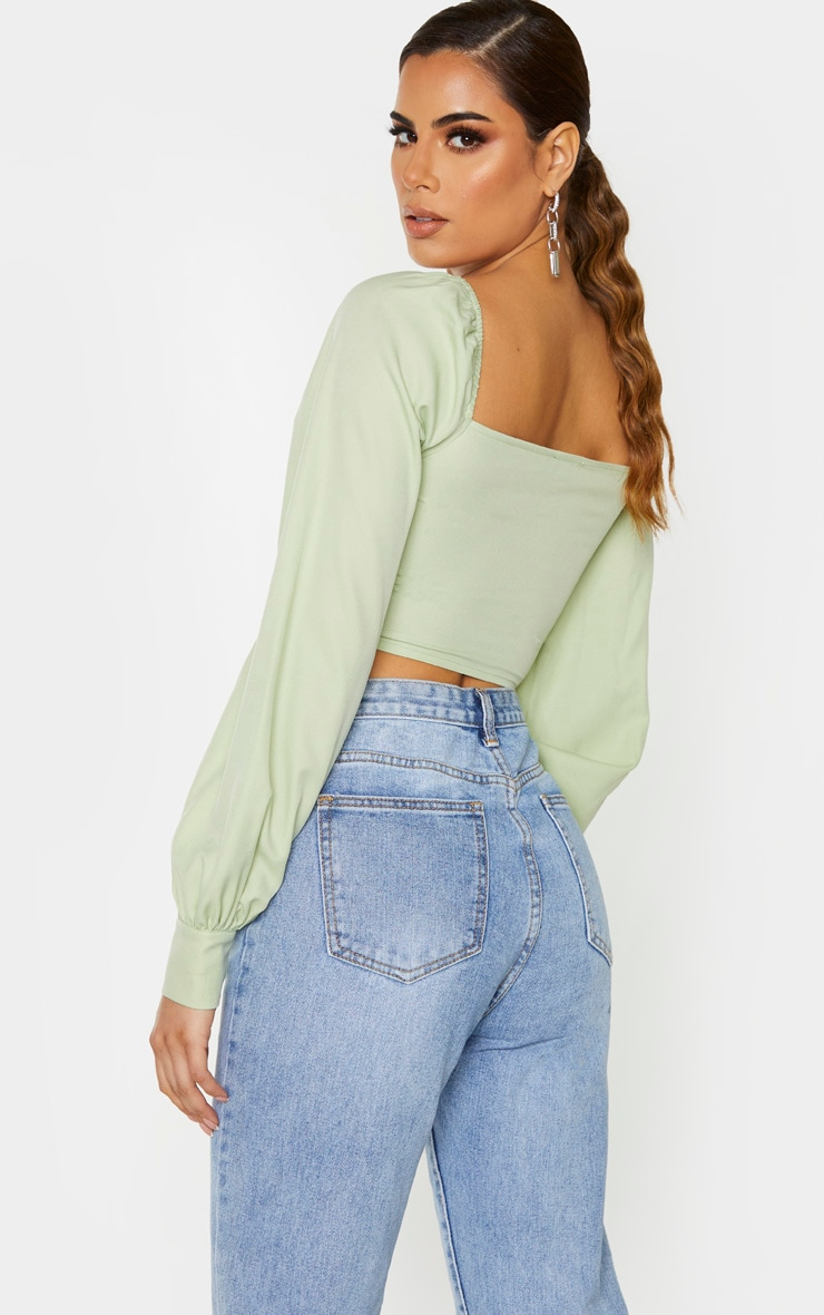 Tall Sage Green Lace Up Long Sleeve Cropped Blouse 2
