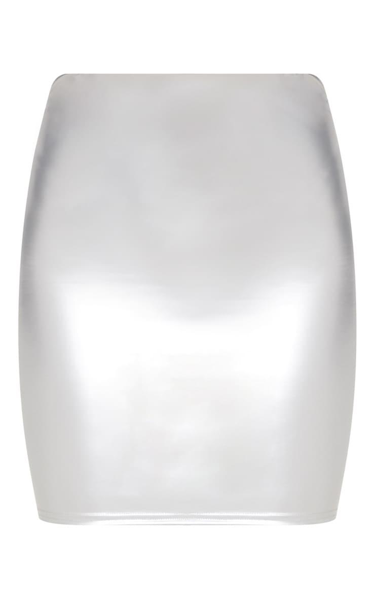 Silver Vinyl Mini Skirt 3