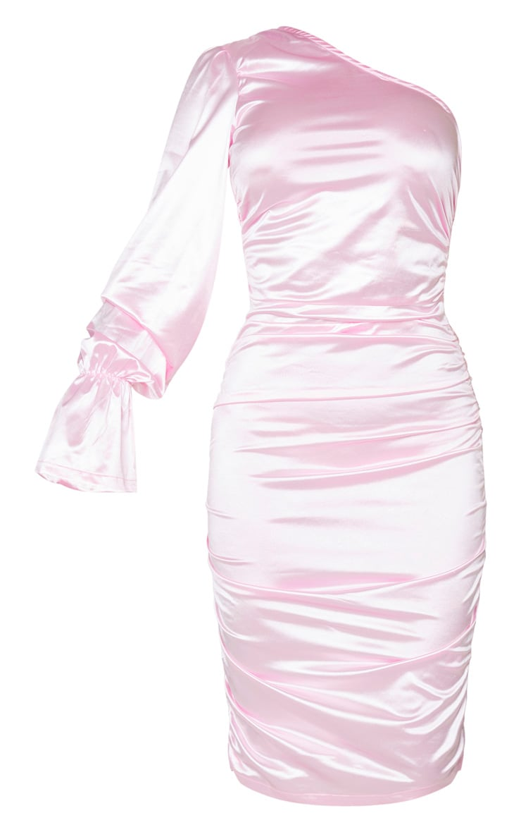 Tall Pink One Shoulder Satin Ruched Side Midi Dress 5