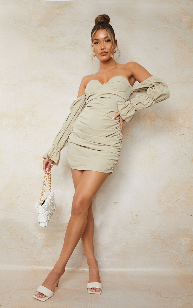 Stone Woven Underwire Tiered Sleeve Ruched Bodycon Dress 3