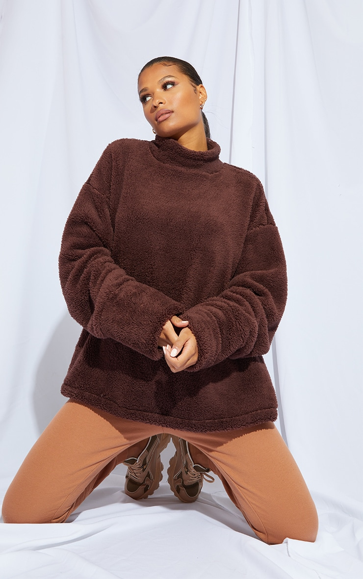 Chocolate High Neck Borg Sweater 3