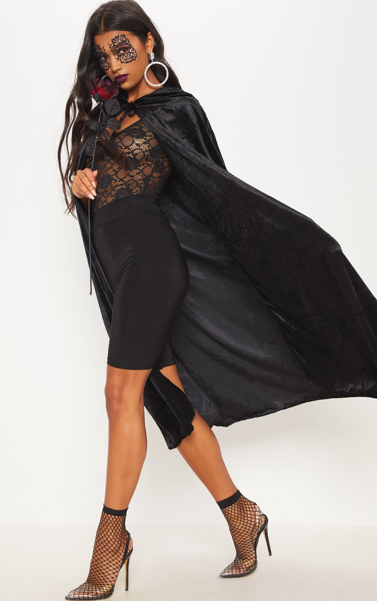 Hood Black Velvet Cape Fancy Dress Outfit 4