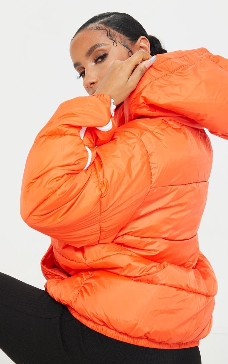 Orange Nylon Oversized Zip Sleeve Puffer Jacket 2