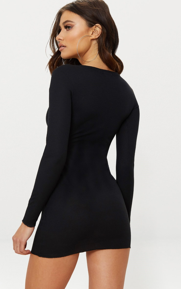 PRETTYLITTLETHING Black Embroidered Ribbed Bodycon Dress 2