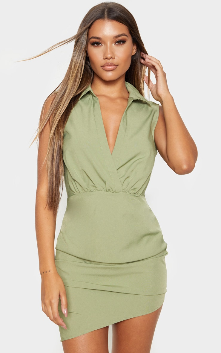 Olive Khaki Sleeveless Ruched Drape Shirt Dress 1