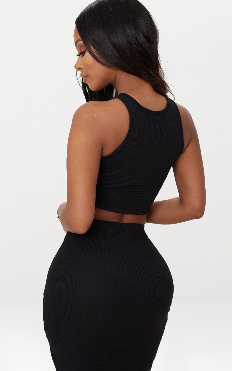 Shape Black Ribbed Sleeveless Crop Top 2