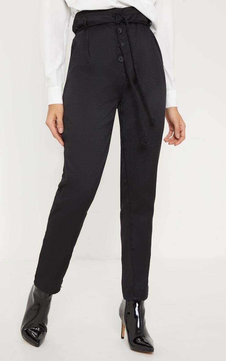 Black Rope Tie Detail Pants 2