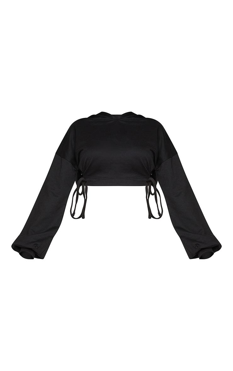 Shape Black Ruched Tie Side Detail Hoodie 5