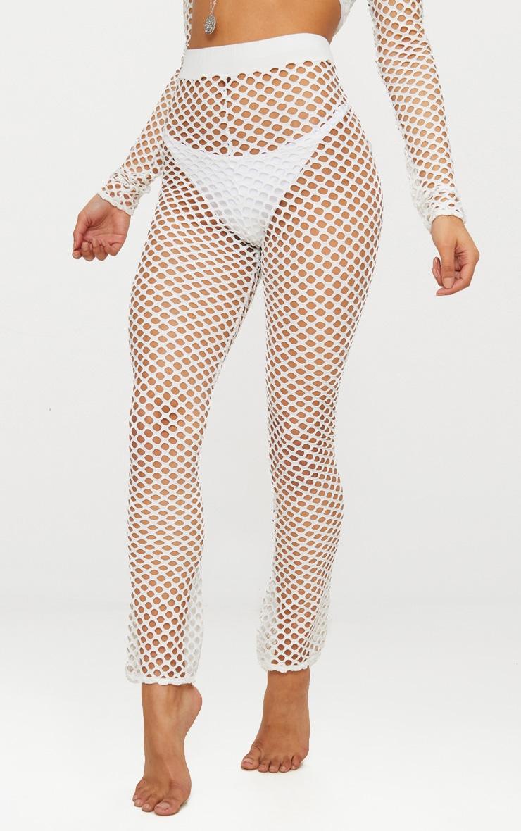 White Jumbo Fishnet Straight Beach Trouser 2