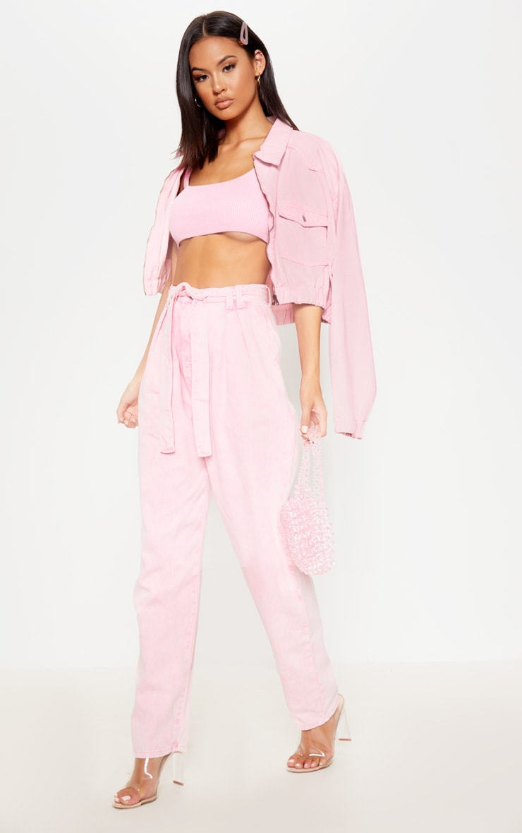 Acid Pink Belted Balloon Mom Jean 1