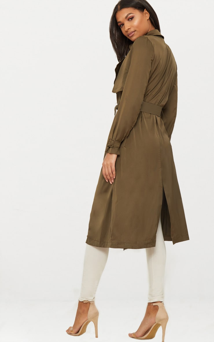 Khaki Satin Trench 2
