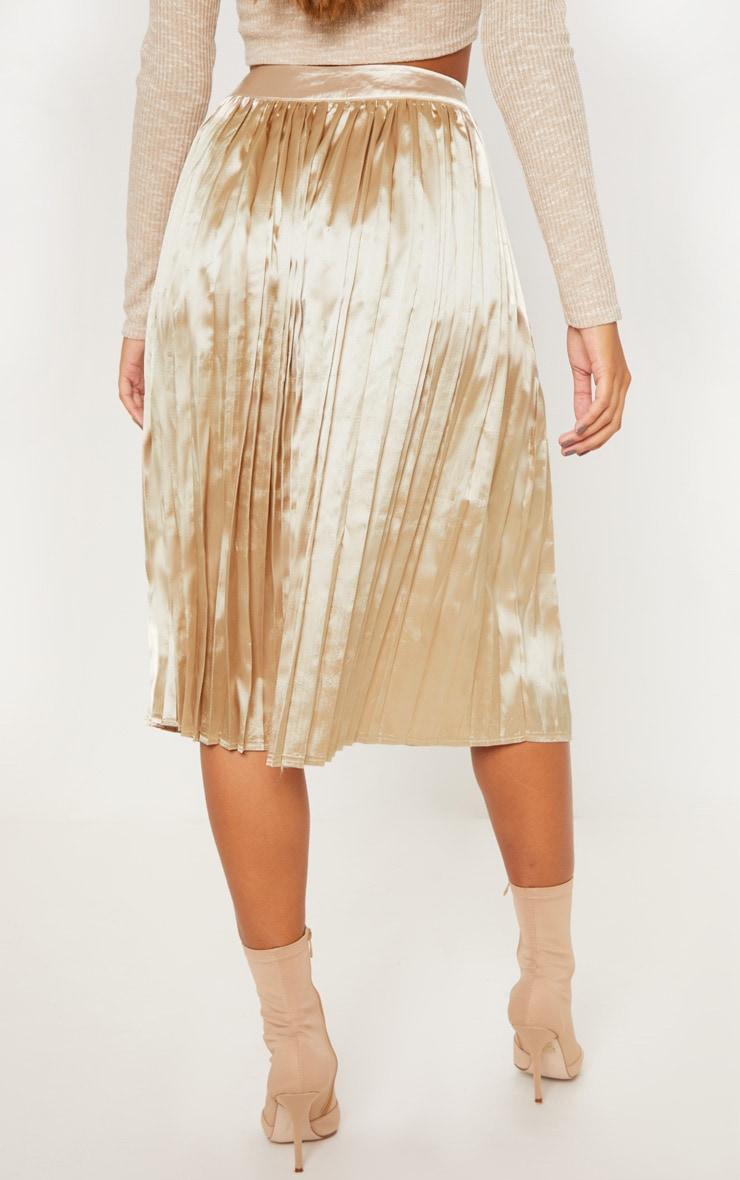 Champagne Satin Pleated Midi Skirt 4