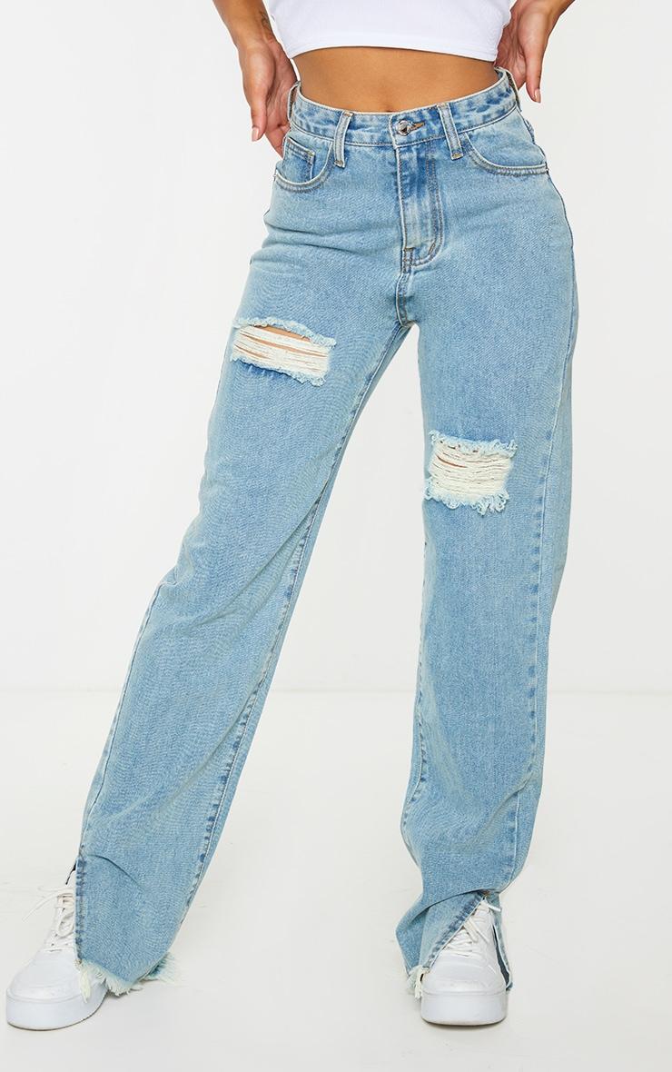 Vintage Wash Double Bum Rip Split Hem Jeans 2