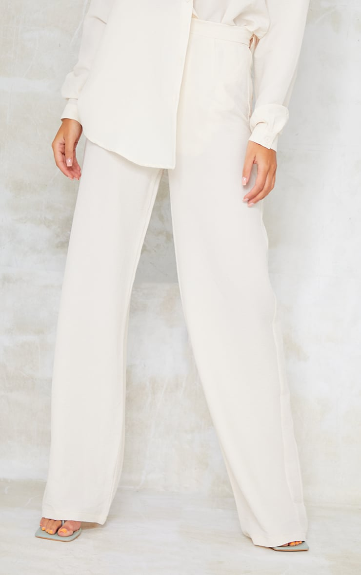 Cream Textured Crinkle Wide Leg Trousers 2