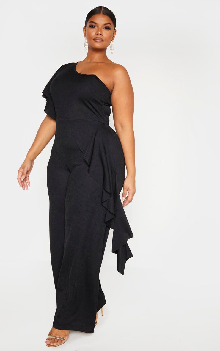 Plus Black One Shoulder Frill Detail Wide Leg Jumpsuit 4