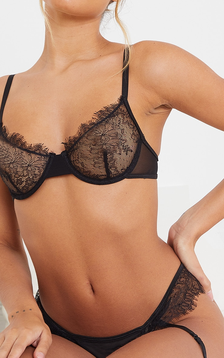 Black Eyelash Lace Trim Underwired Bra 4