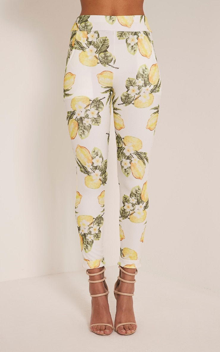 Farren White Lemon Print Cigarette Trousers 2
