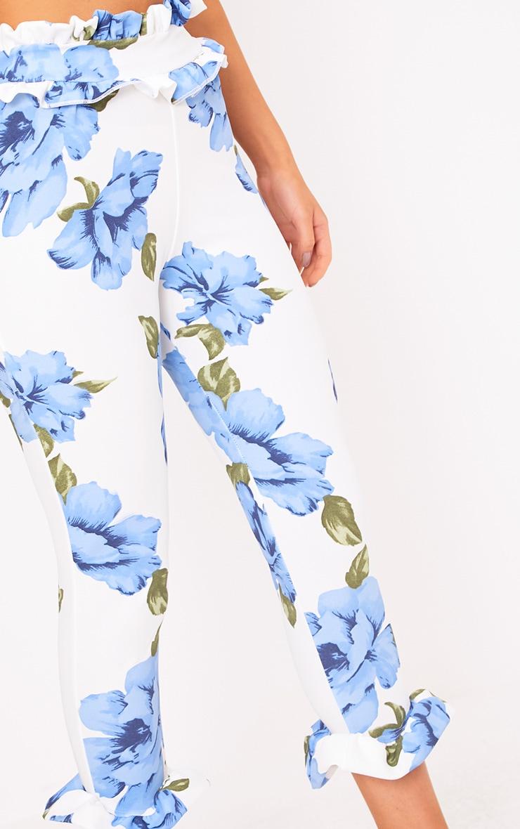 Keren Blue Floral Frill Trim Trousers 5