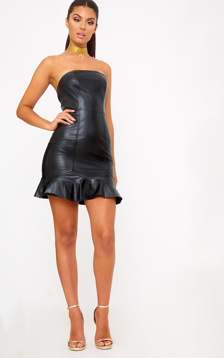Black PU Frill Hem Bodycon Dress 4