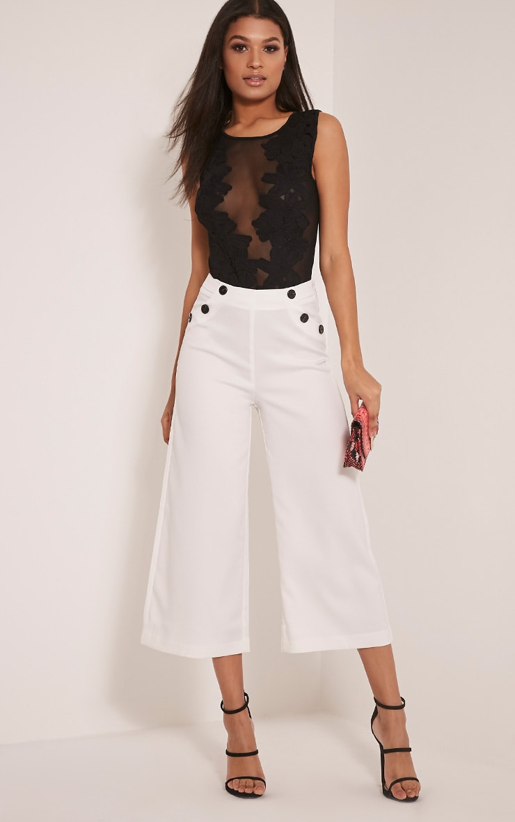 Sabine Cream Button Detail Culottes 1