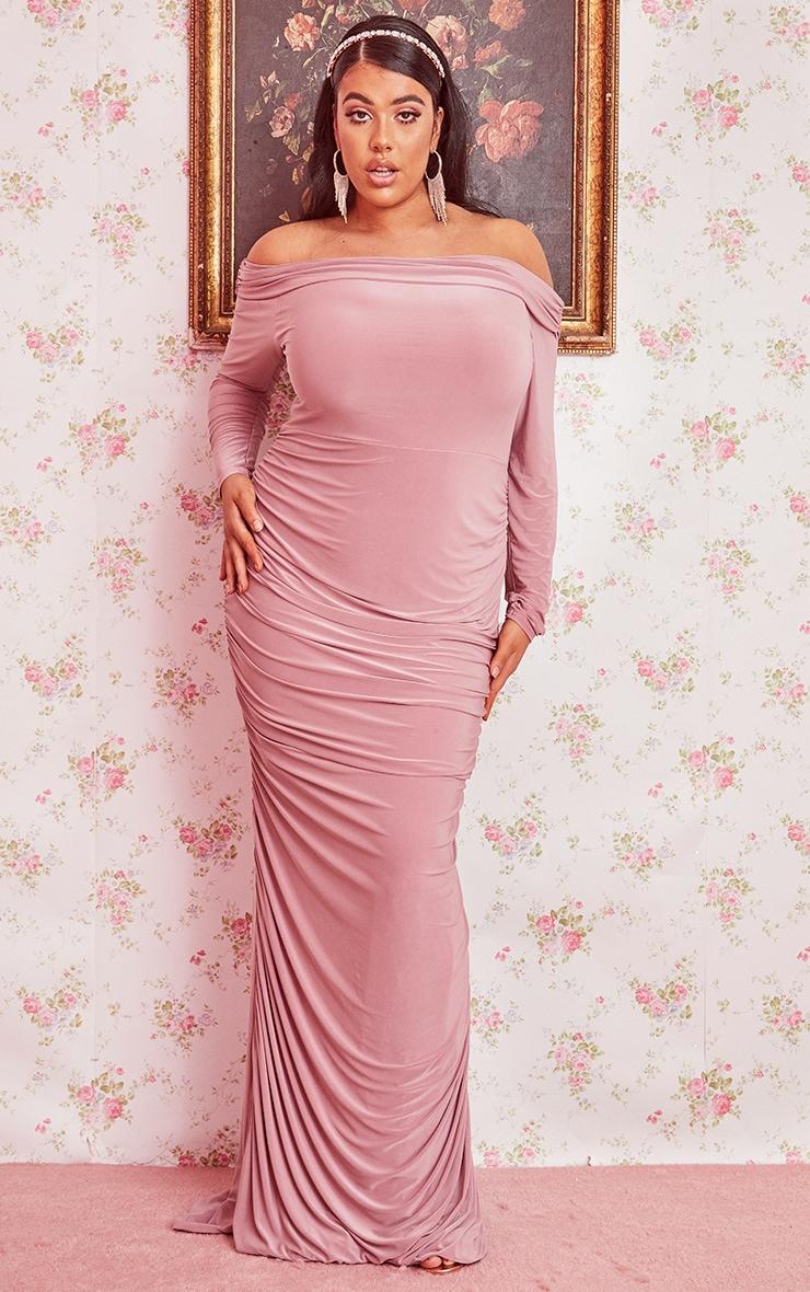Plus Dusty Pink Slinky Bardot Ruched Long Sleeve Maxi Dress 1