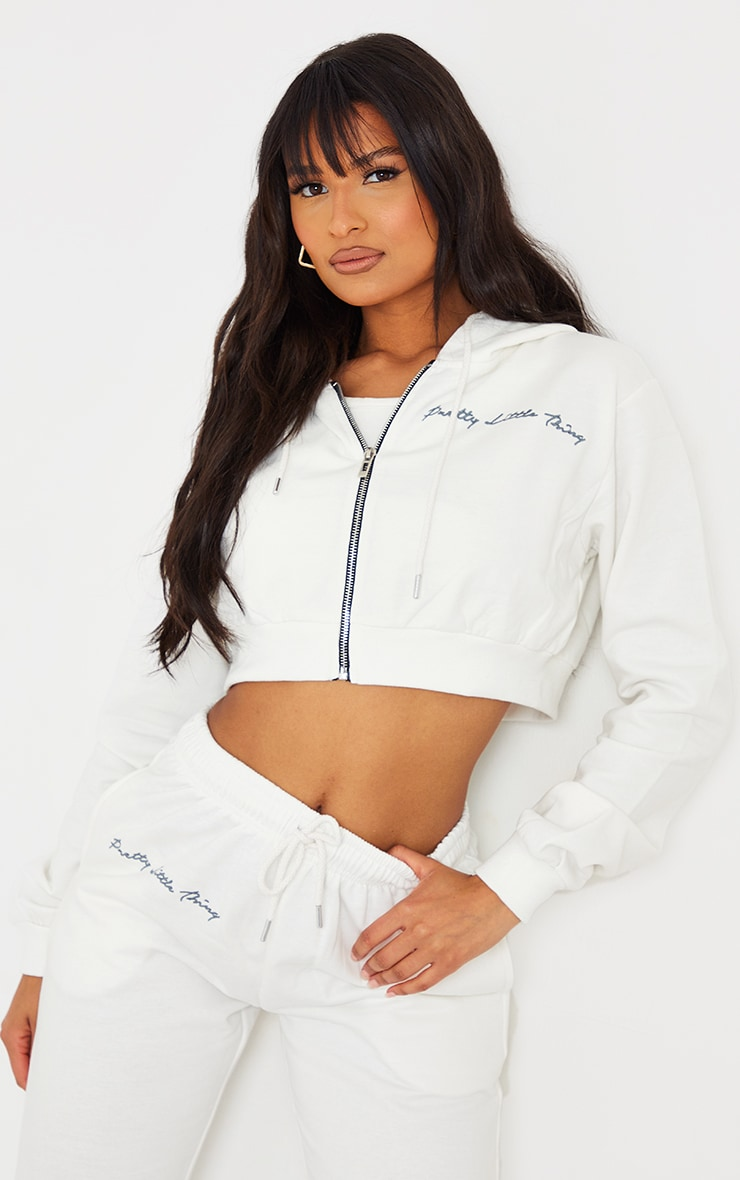 PRETTYLITTLETHING Cream Cropped Embroidered Zip Hoodie 1