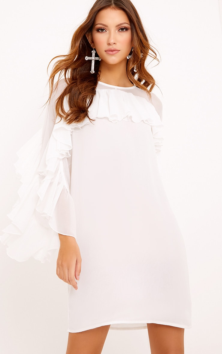 Maariah Mesh Frill Shift Dress White 1