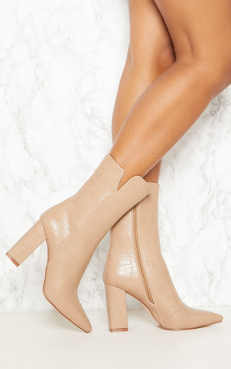 Nude Faux Croc High Point Ankle Boot