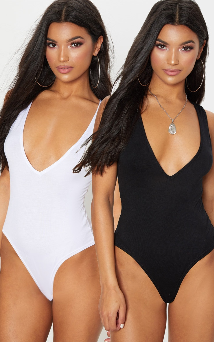 Basic Black & White 2 Pack Jersey Plunge Neck Thong Bodysuit  1