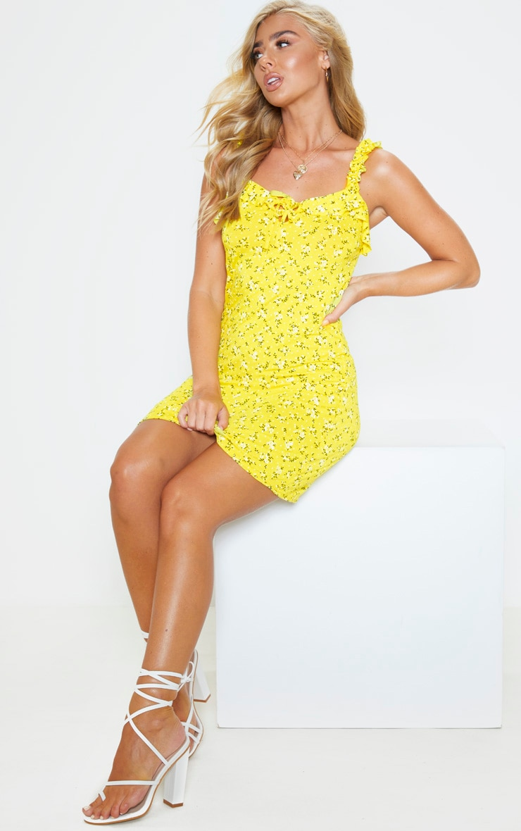 Yellow Ditsy Floral Frill Detail Shift Dress 4