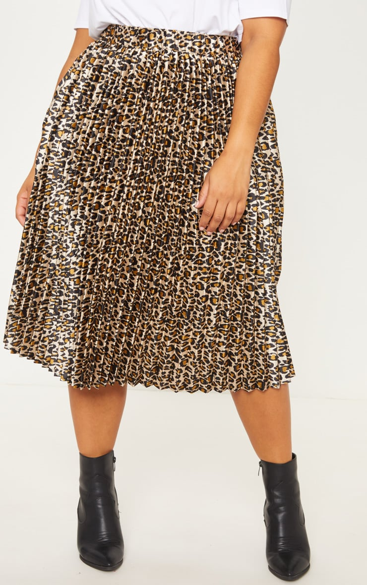 Plus Tan Leopard Pleated Midi Skirt 2