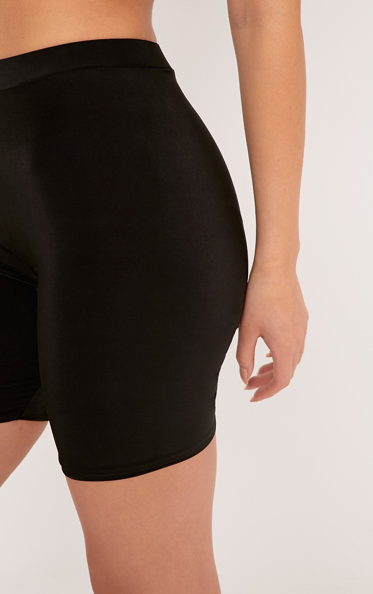2b371b1830581 Bella Black Slinky High Waisted Cycle Shorts | PrettyLittleThing