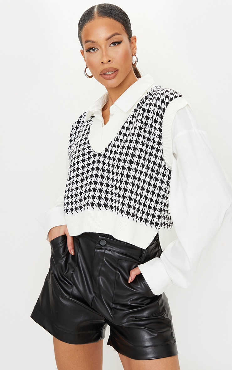 Tall Monochrome Crop V Neck Knitted Vest 1