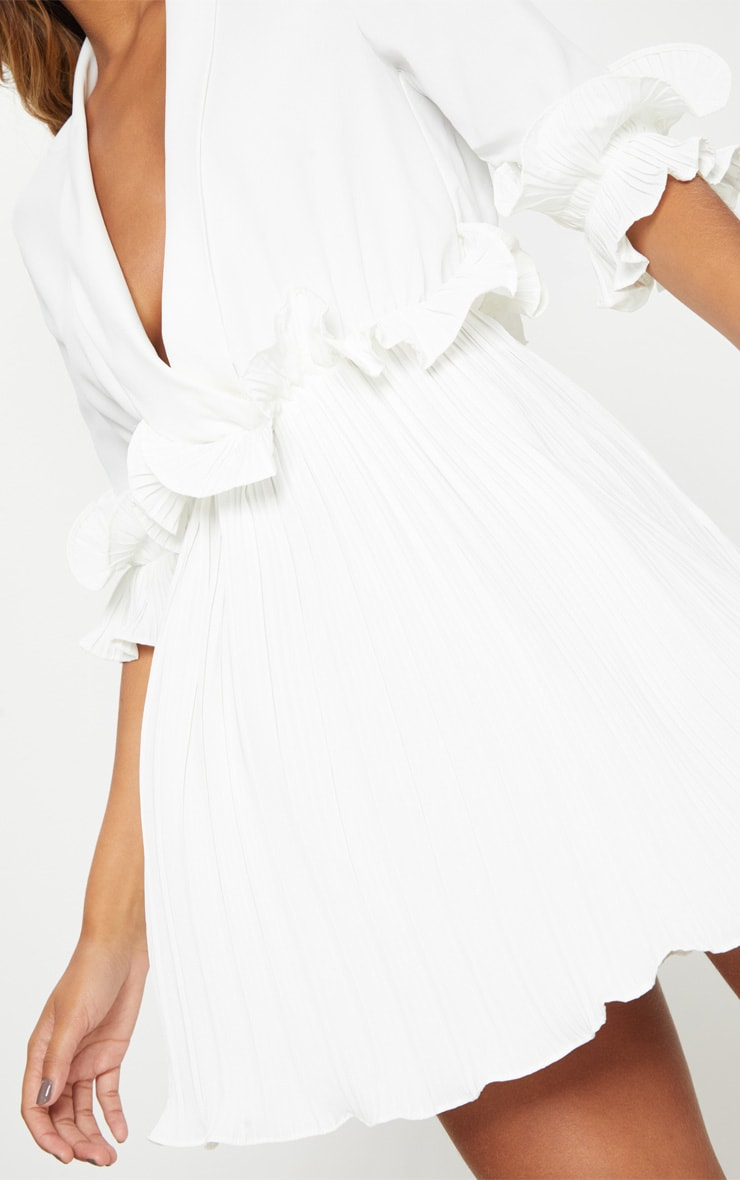 White Frill Detail Pleated Skater Dress 5