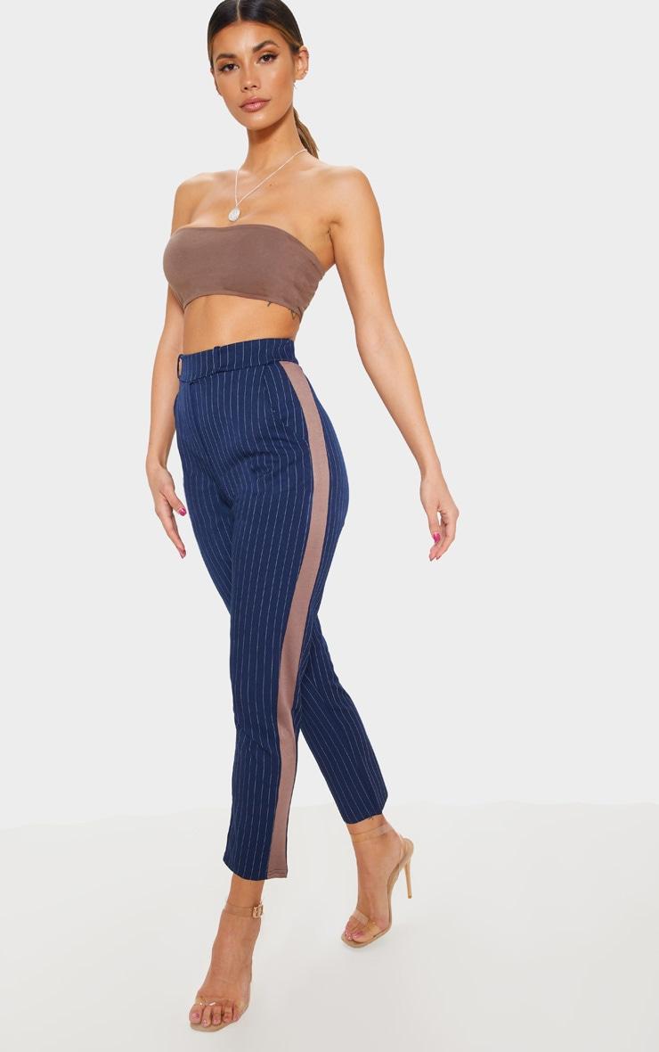 Navy Pinstripe Formal Side Stripe Trouser 1