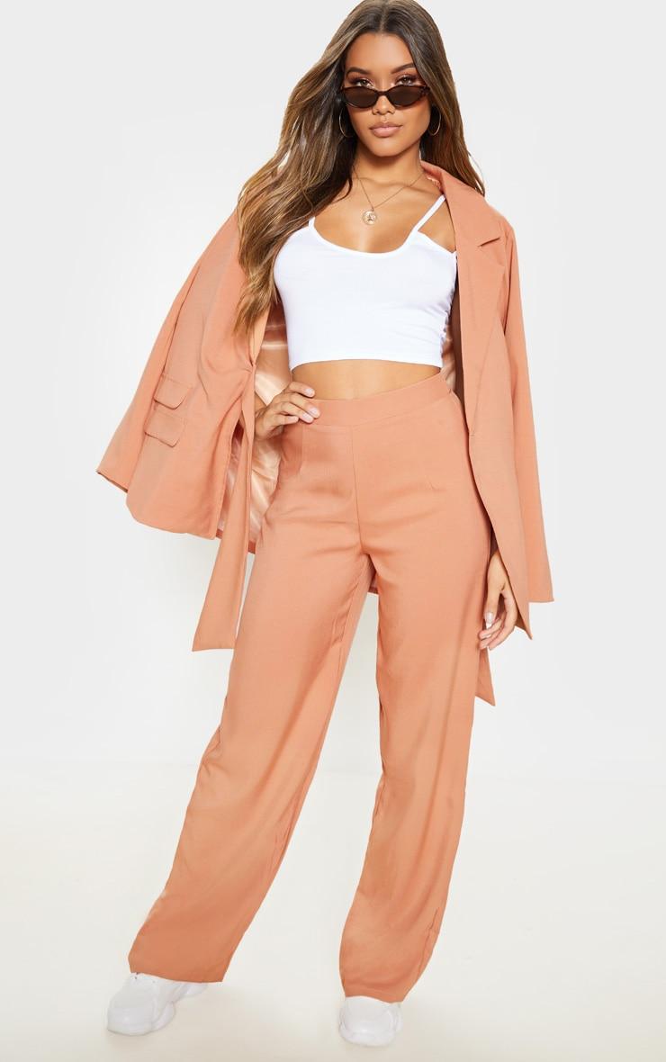 Pantalon à plis ample camel 1