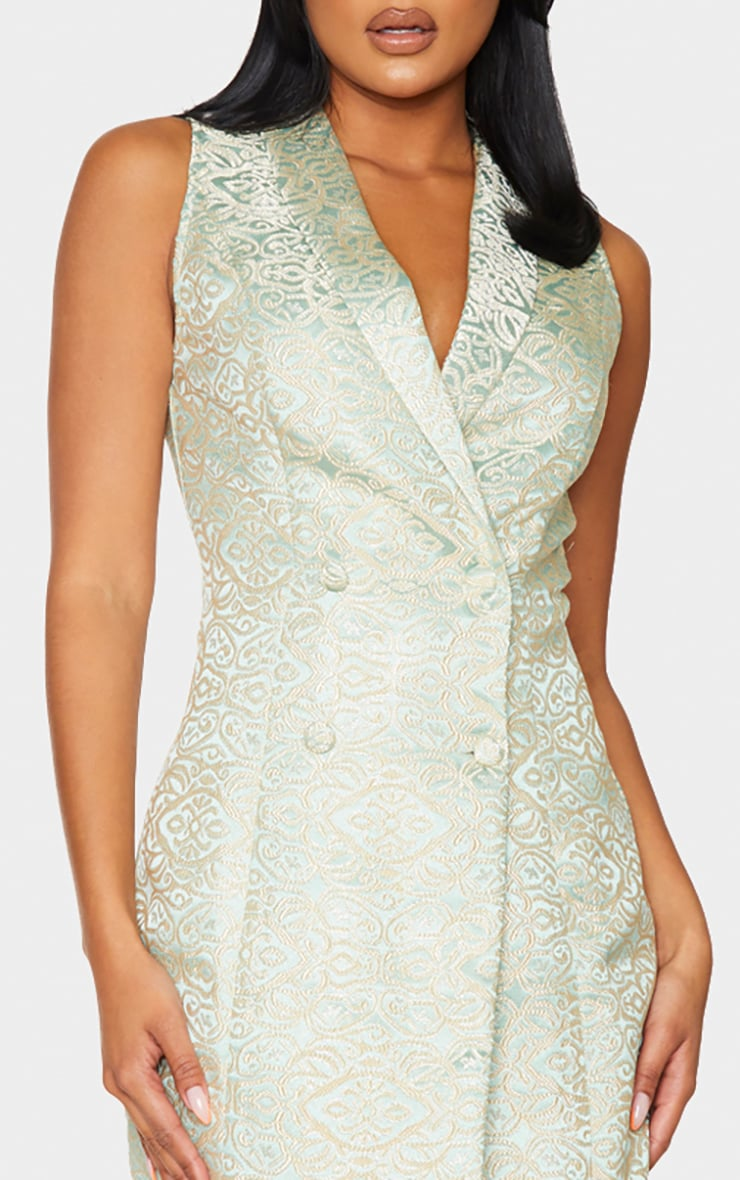 Sage Jacquard High Collar Sleeveless Blazer Dress 4