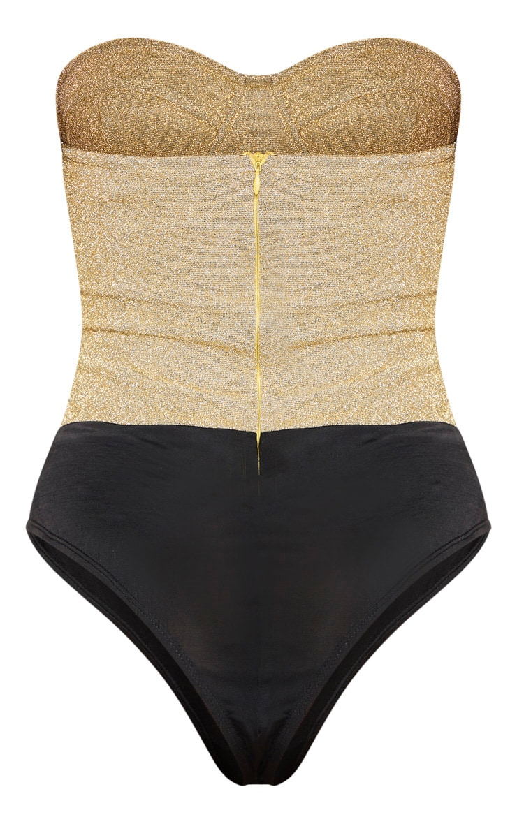 Gold Glitter Bandeau Cupped Bodysuit 4