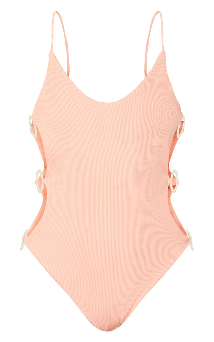 Peach Crinkle Ring Cut Out Side Panel Swimsuit 5