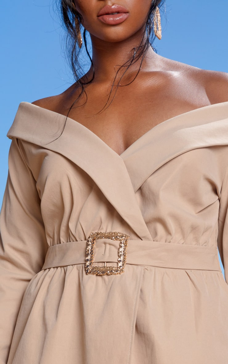 Plus Camel Bardot Belt Detail Shift Dress 4